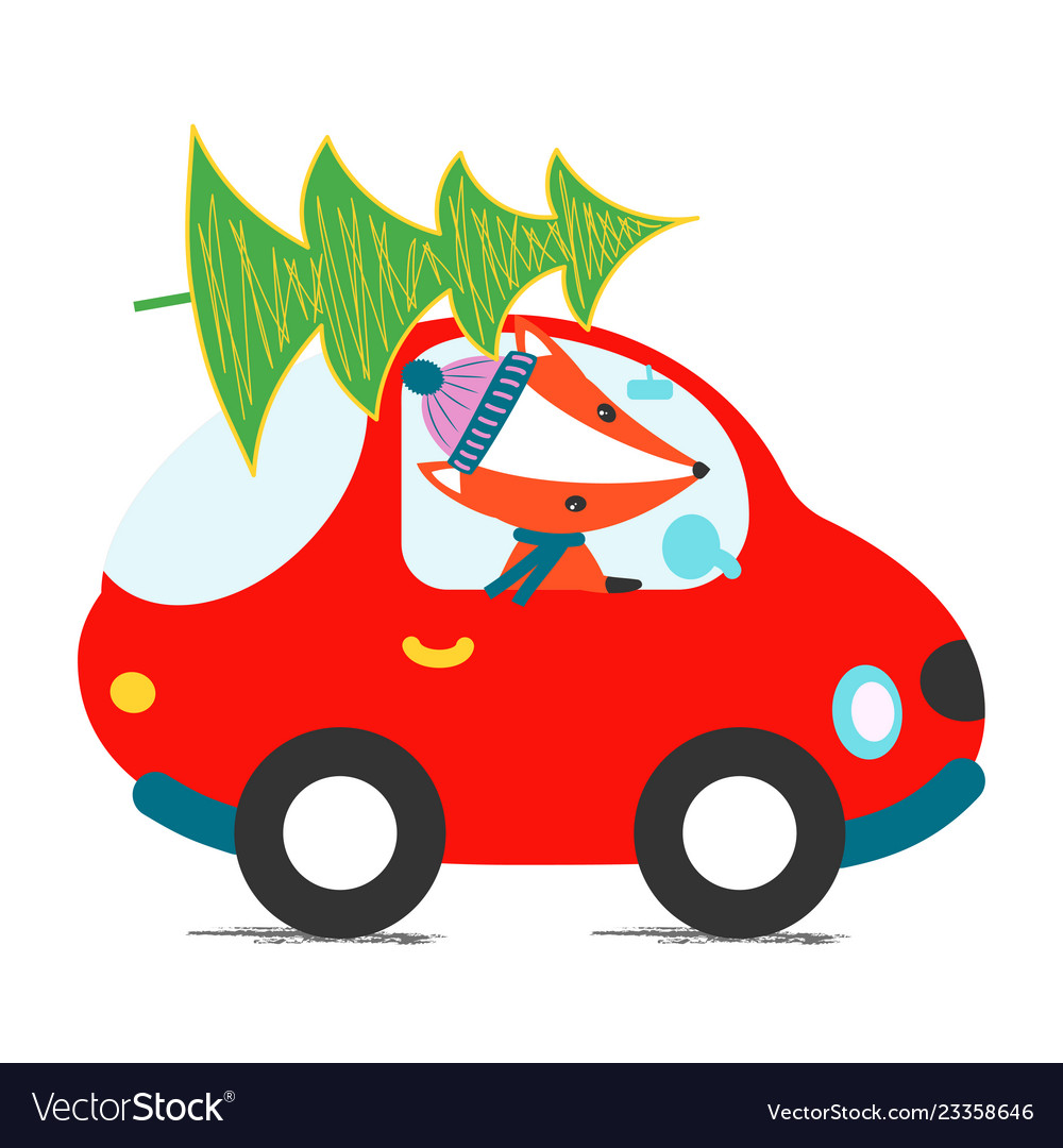 Car driving christmas tree