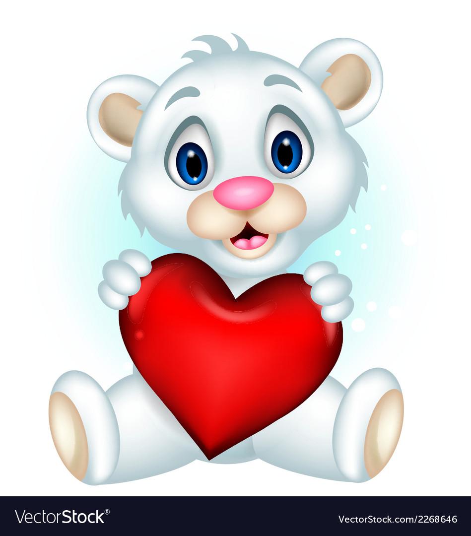 Cute little polar bear holding heart love