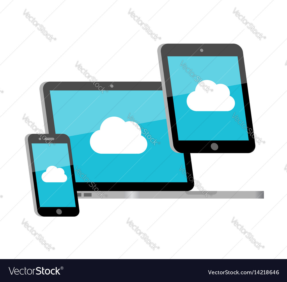 Devices sync with cloud vector image