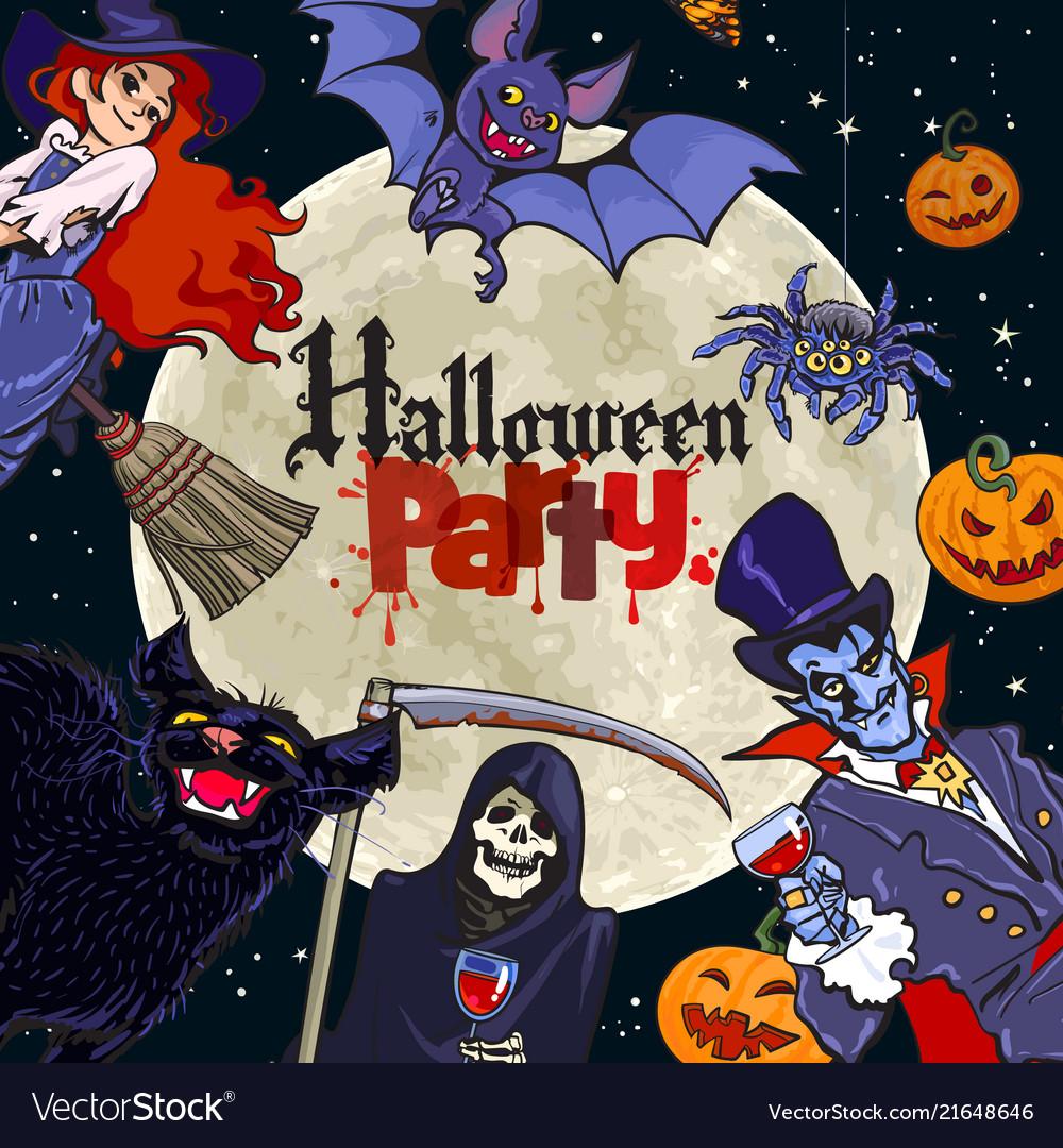 Halloween cartoon characters on full moon