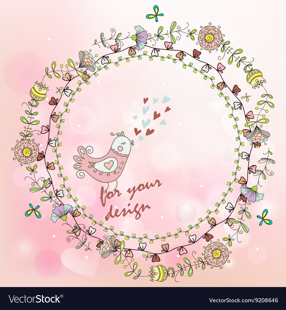 Hand painted background with floral wreath and
