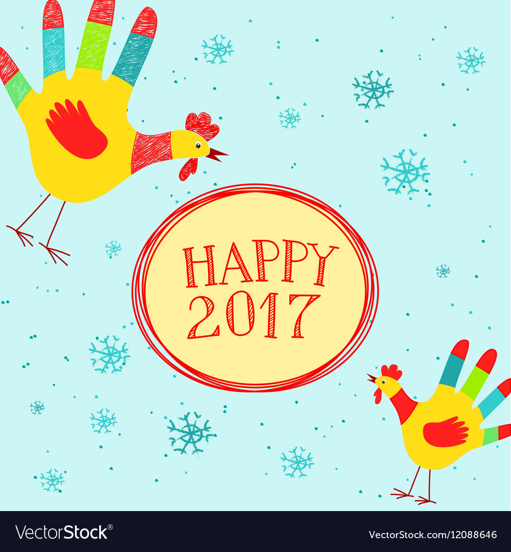 Happy New year message with hand printed roosters