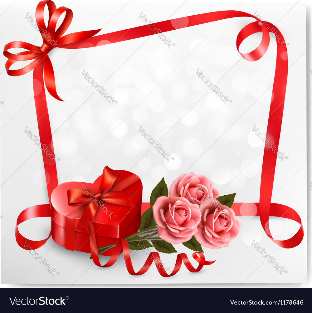 Holiday background with red heart-shaped gift box