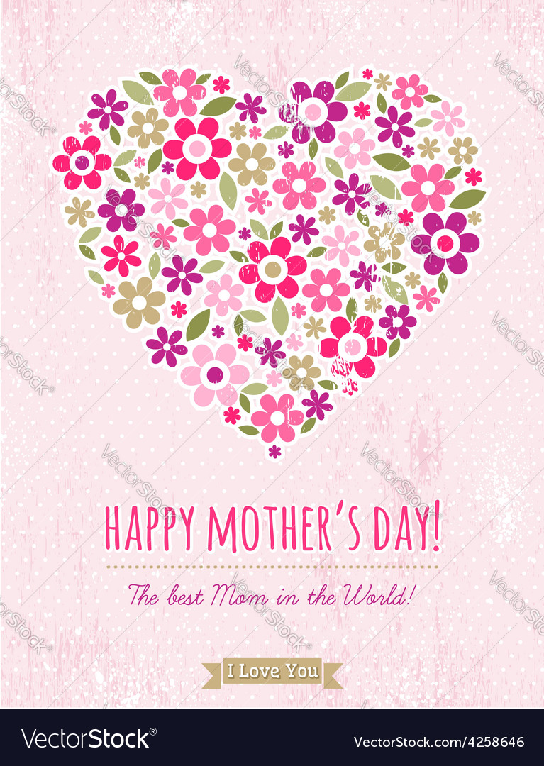 Mothers Day card with heart of spring flowers