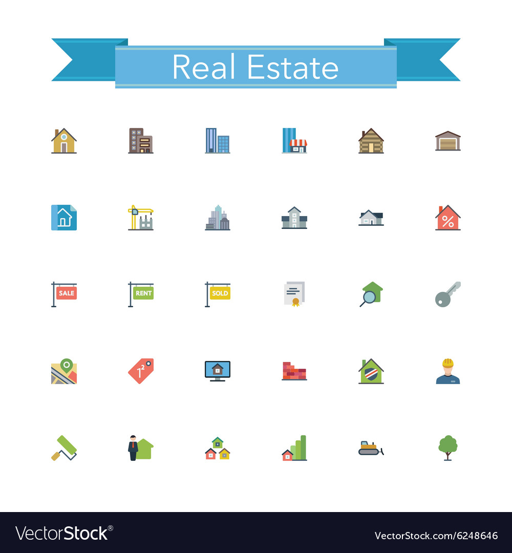 Real Estate Flat Icons vector image