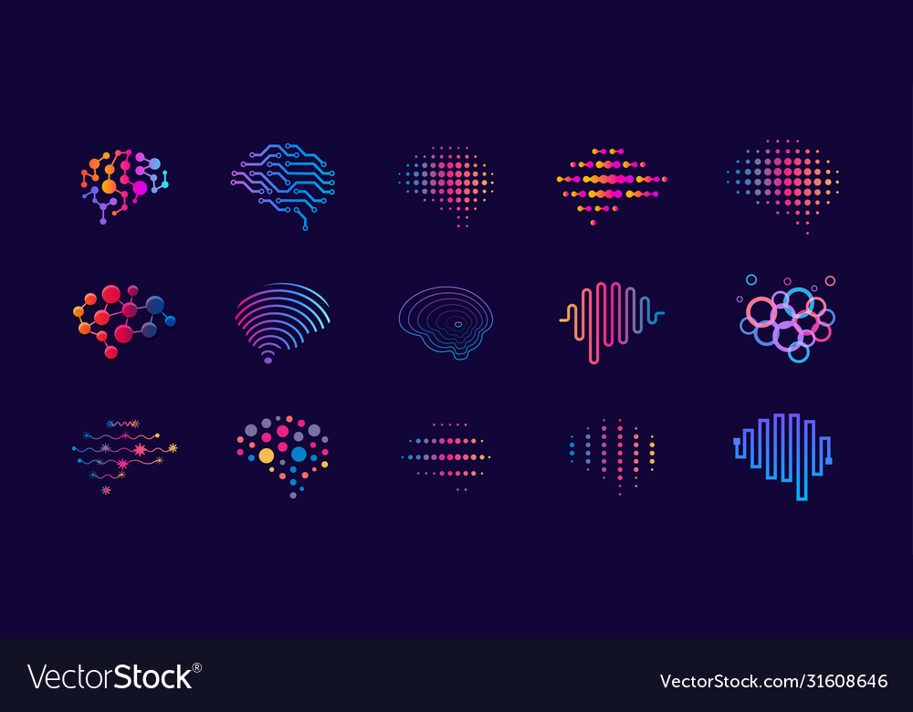 Set abstract dots and lines brain logotypes