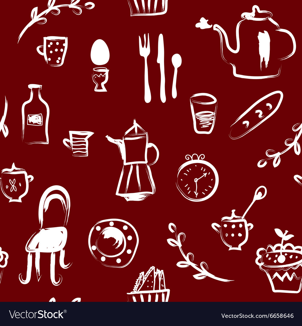Tea time at the cafe seamless pattern vector image