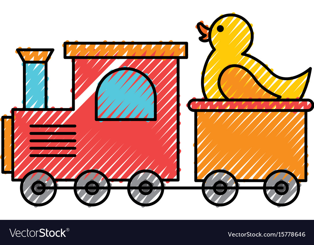 Train toy with duck