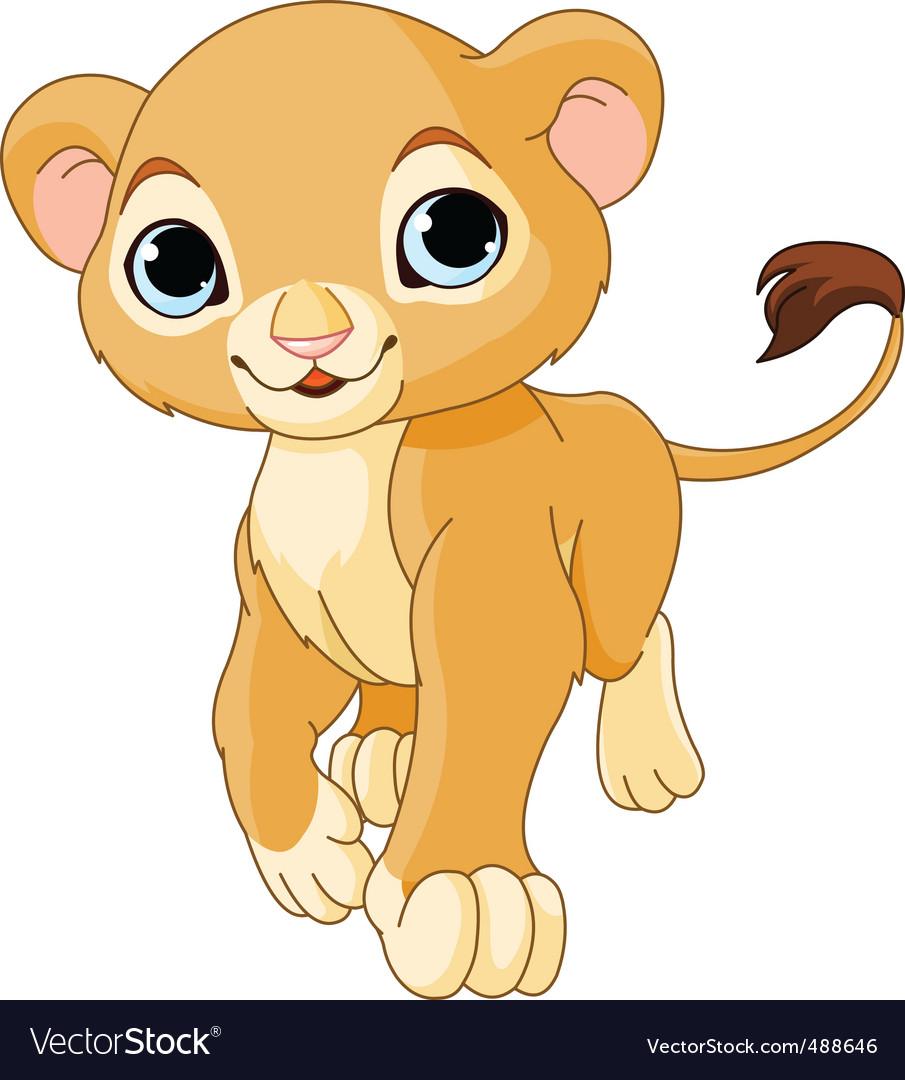 Walking lion cub vector image
