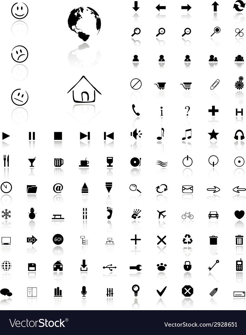 100 glossy web icons vector image