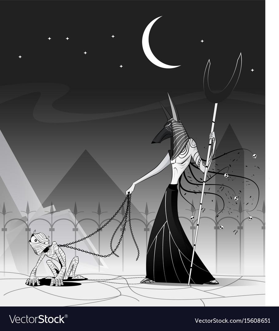 Anubis and mummy