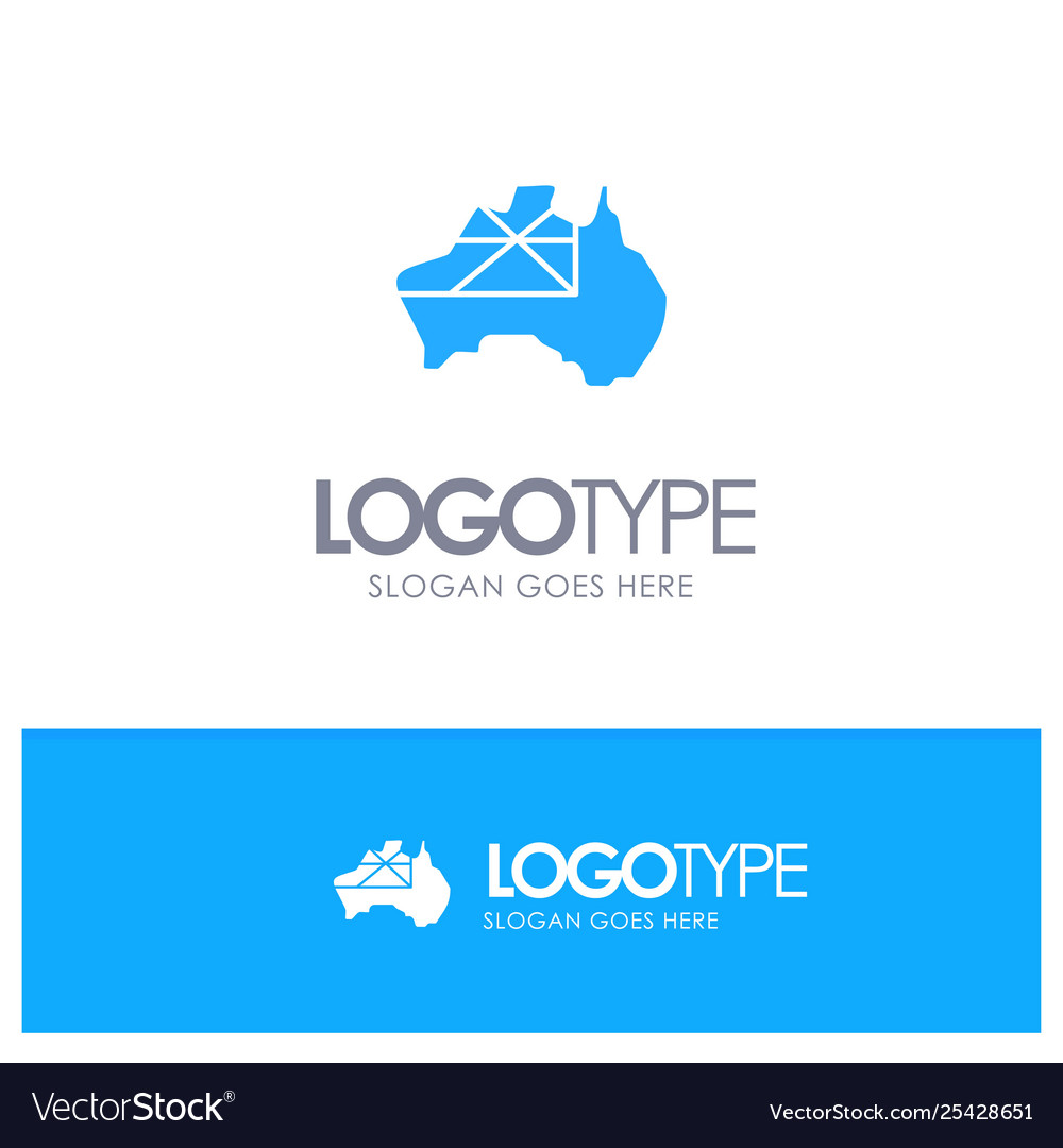 Map Of Australia Logo.Australia Map Country Flag Blue Solid Logo With