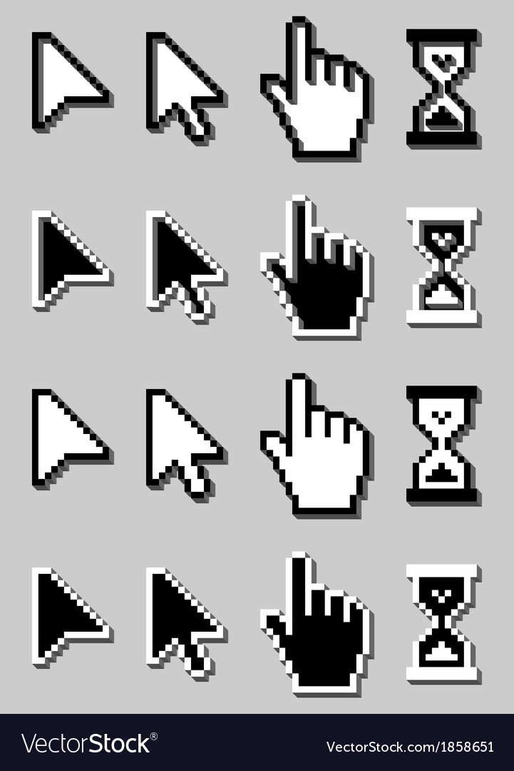 Cursor Icon Set Mouse Hand Arrow Hourglass vector image