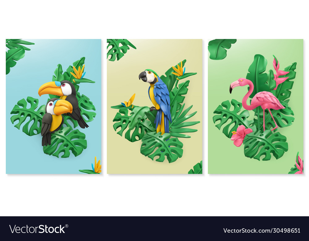 Exotic birds and tropical leaves toucan parrot