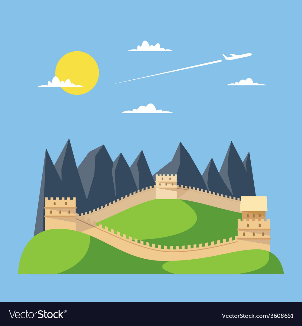 Flat design great wall of China