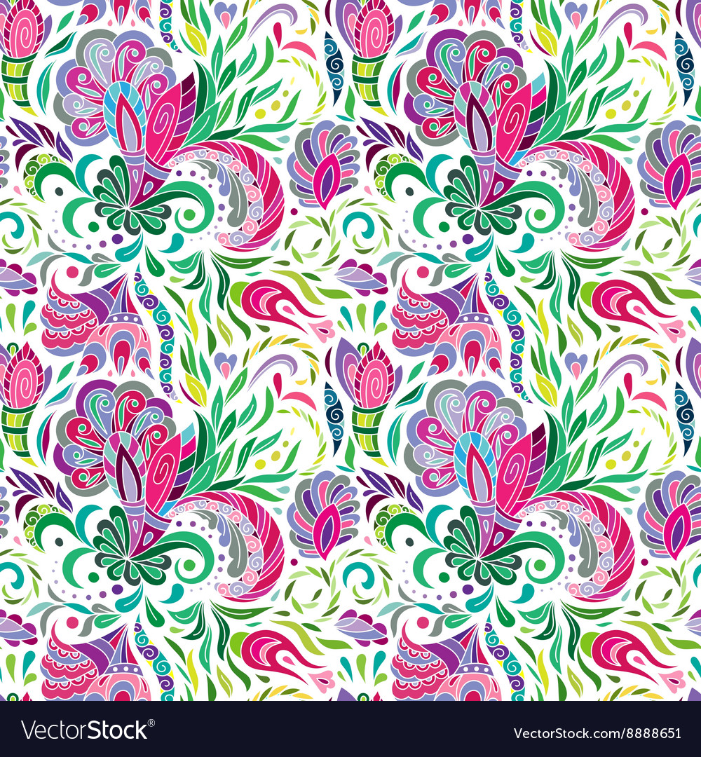 Hand drawn doodle Flowers Colorful Floral