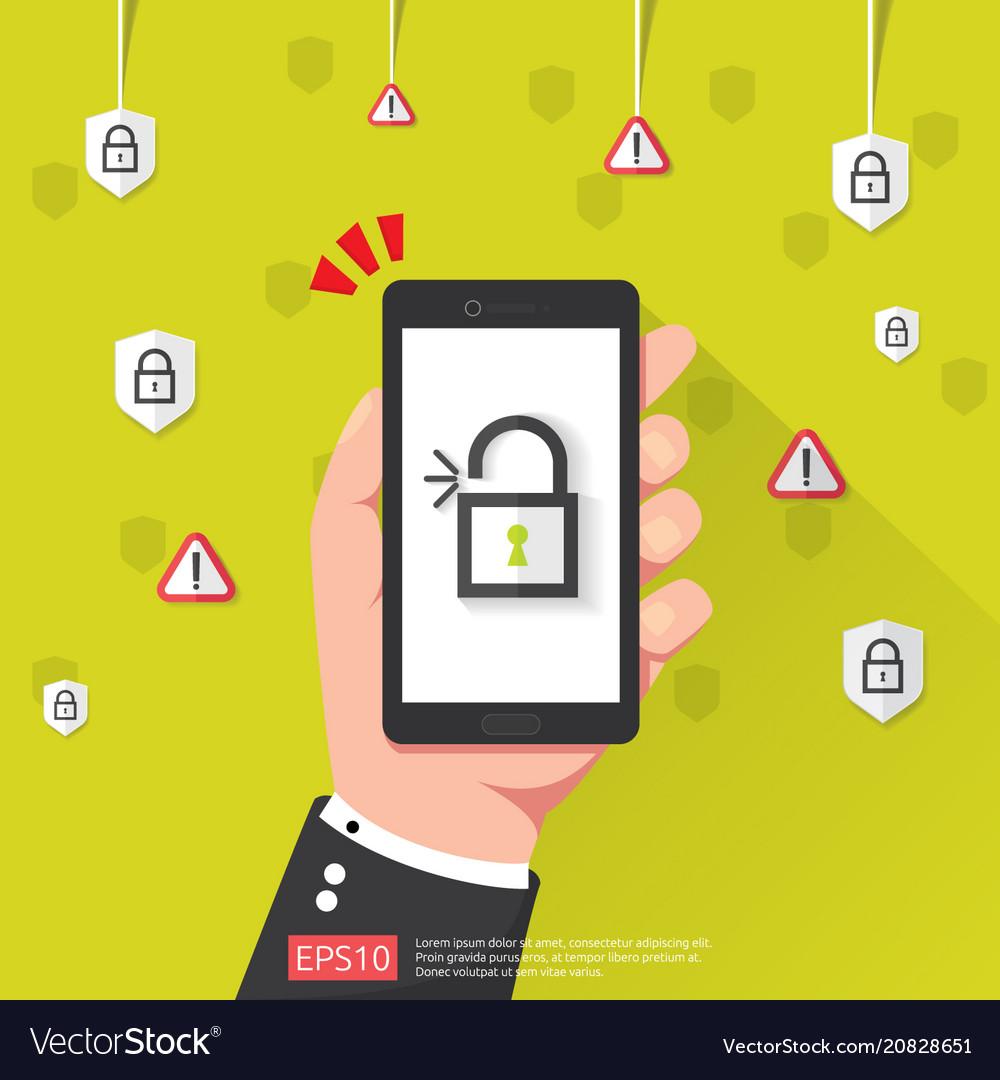 Hand holding phone with open unlock padlock icon