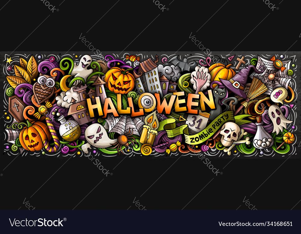 Happy halloween hand drawn cartoon doodles