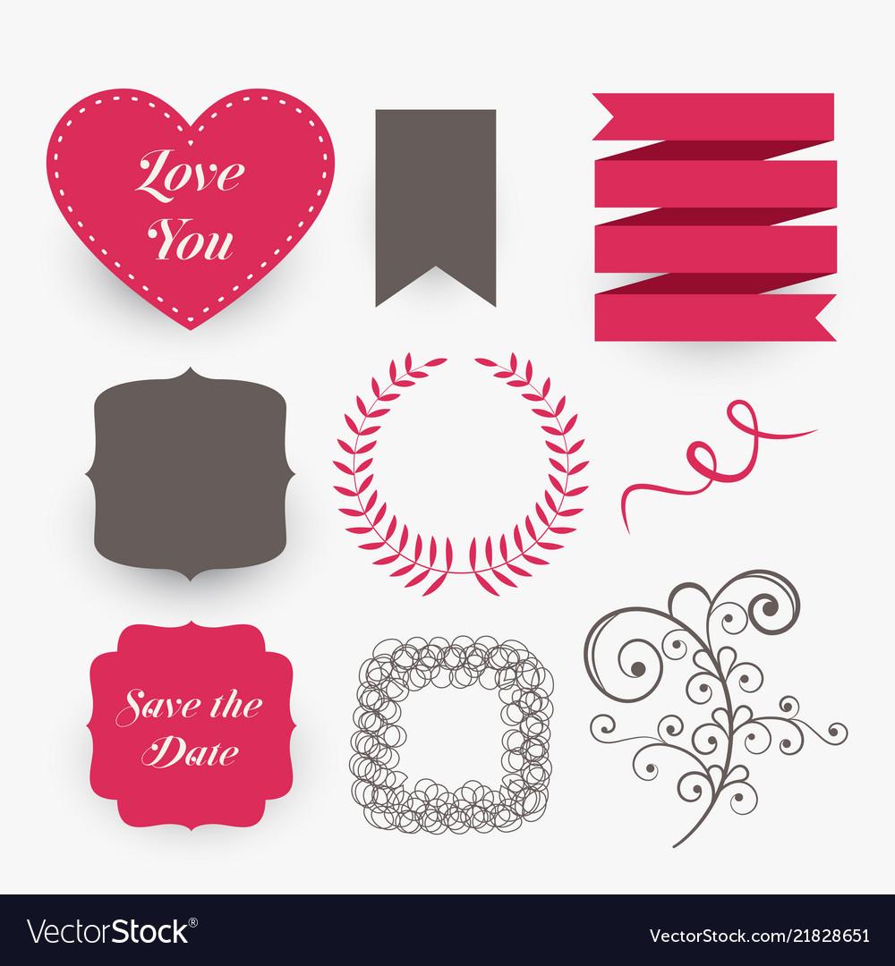 Lovely set of wedding design elements