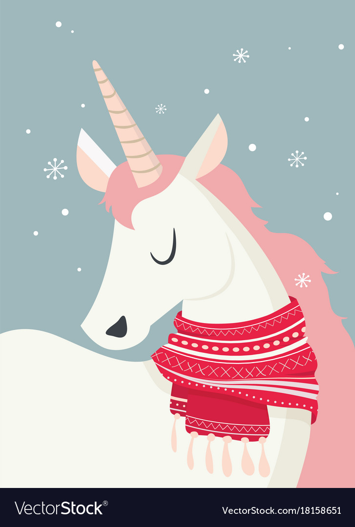 Merry Christmas Illustration.Magical Unicorn At Winter Scine Merry Christmas