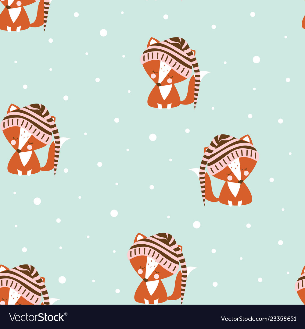 Seamless pattern fox