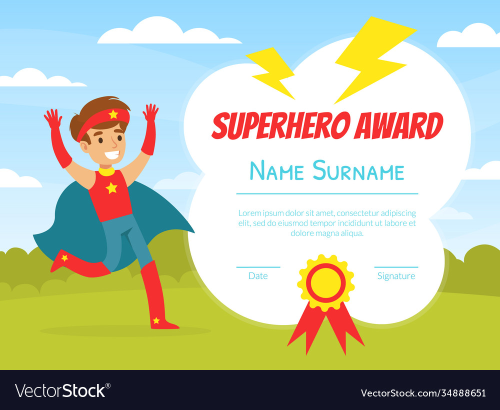 Superhero Award Template With Place For Your Text Vector Image