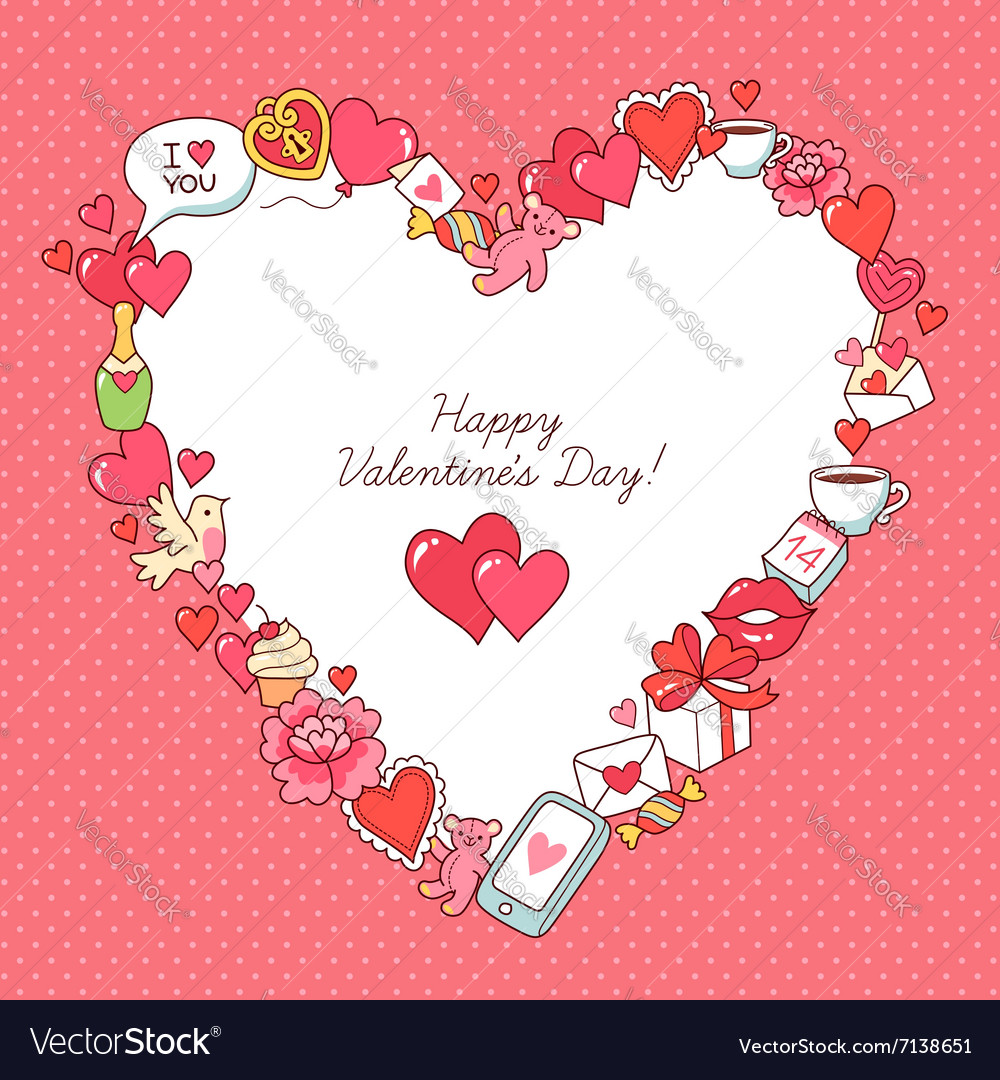 Valentine card frame heart Royalty Free Vector Image