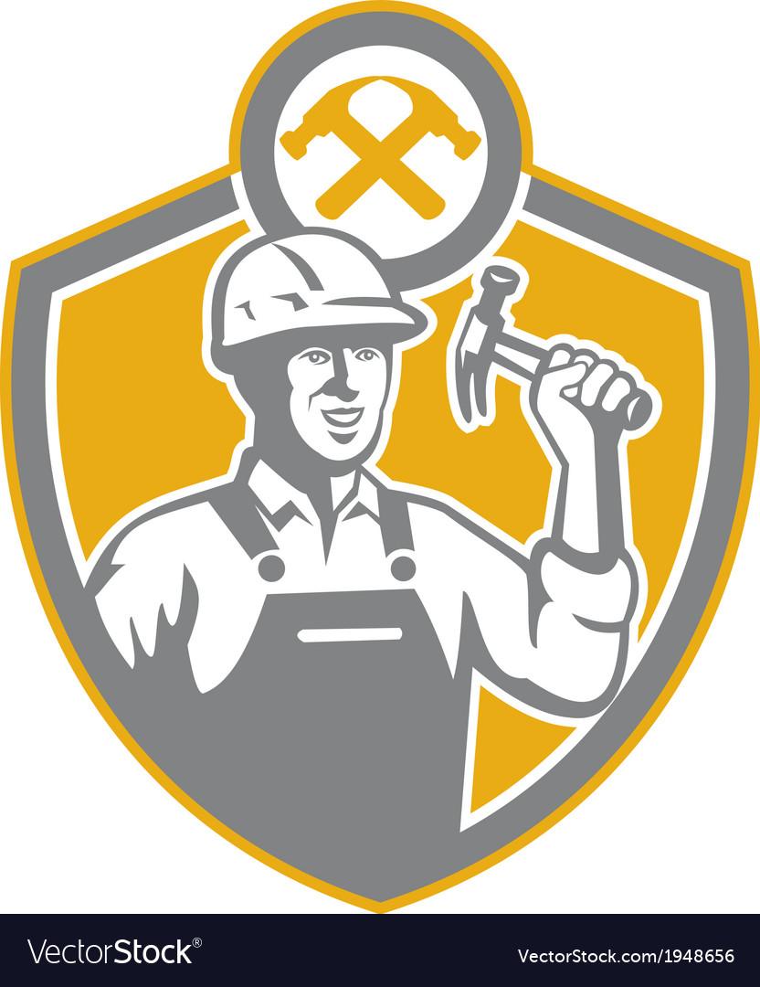 Builder Carpenter Hammer Shield Retro