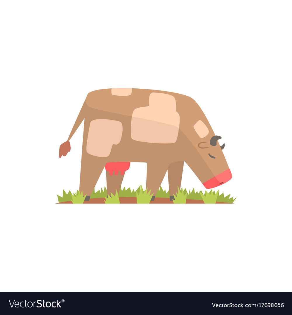 Cow grazing on a summer pasture dairy cow cartoon