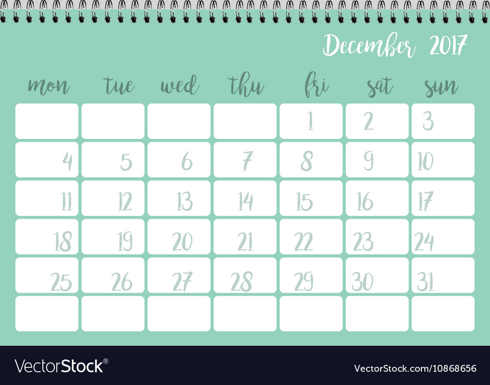 Desk Calendar Template For Month December Week Vector Image