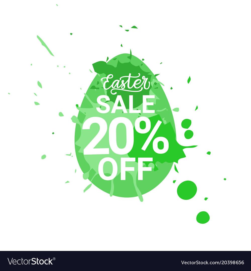 Easter sale logo egg with green paint splash