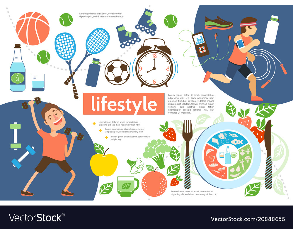 Flat active lifestyle infographic template