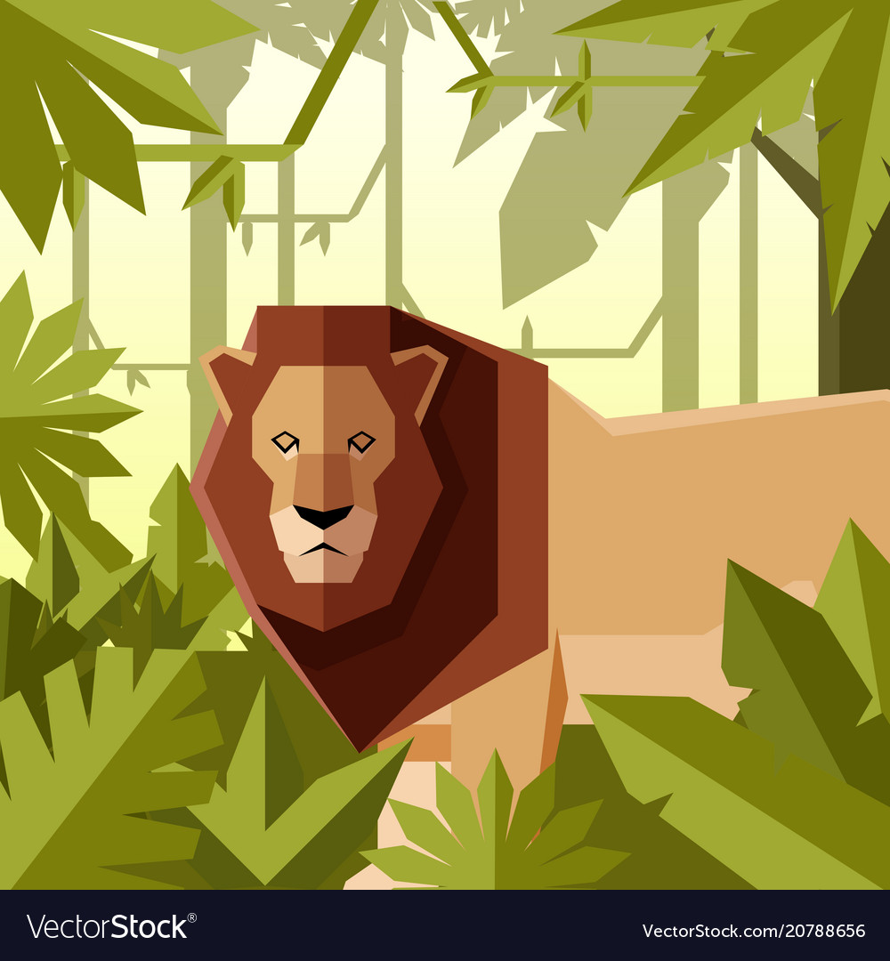 Flat geometric jungle background with lion
