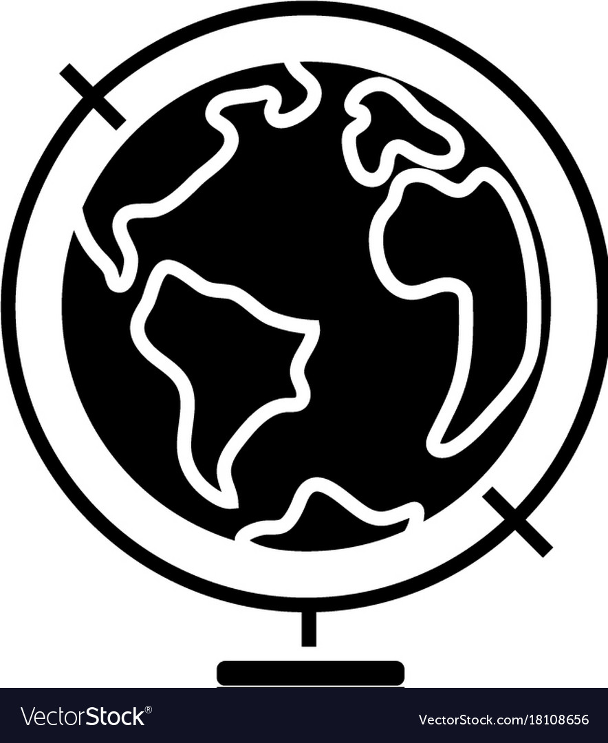 Globus icon black sign on vector image