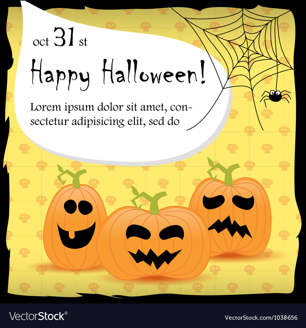 Halloween party invitation card with pumpkins vector image stopboris Images