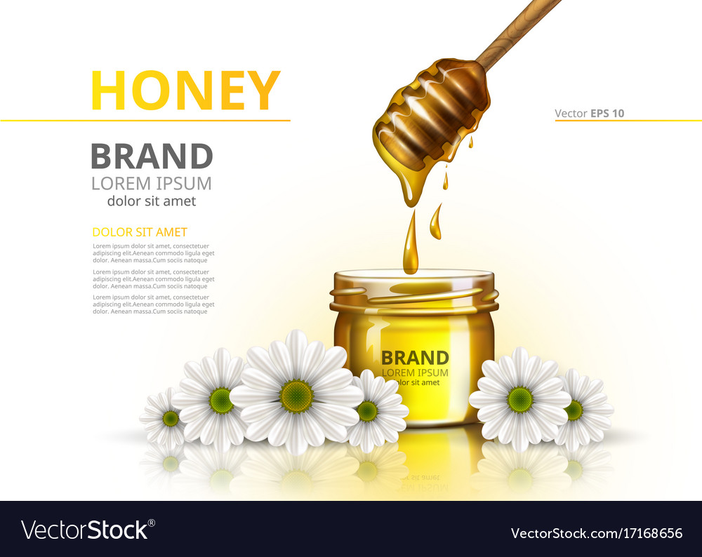 Honey jar realistic mock up advertise vector image