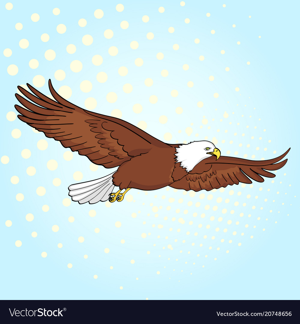 Pop art background bird eagle falcon of