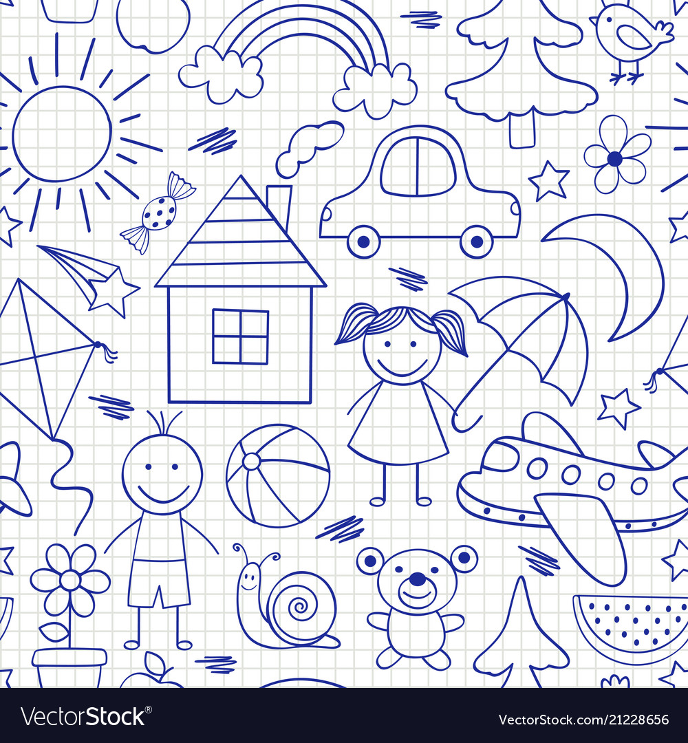 Seamless pattern with kids drawings in blue color