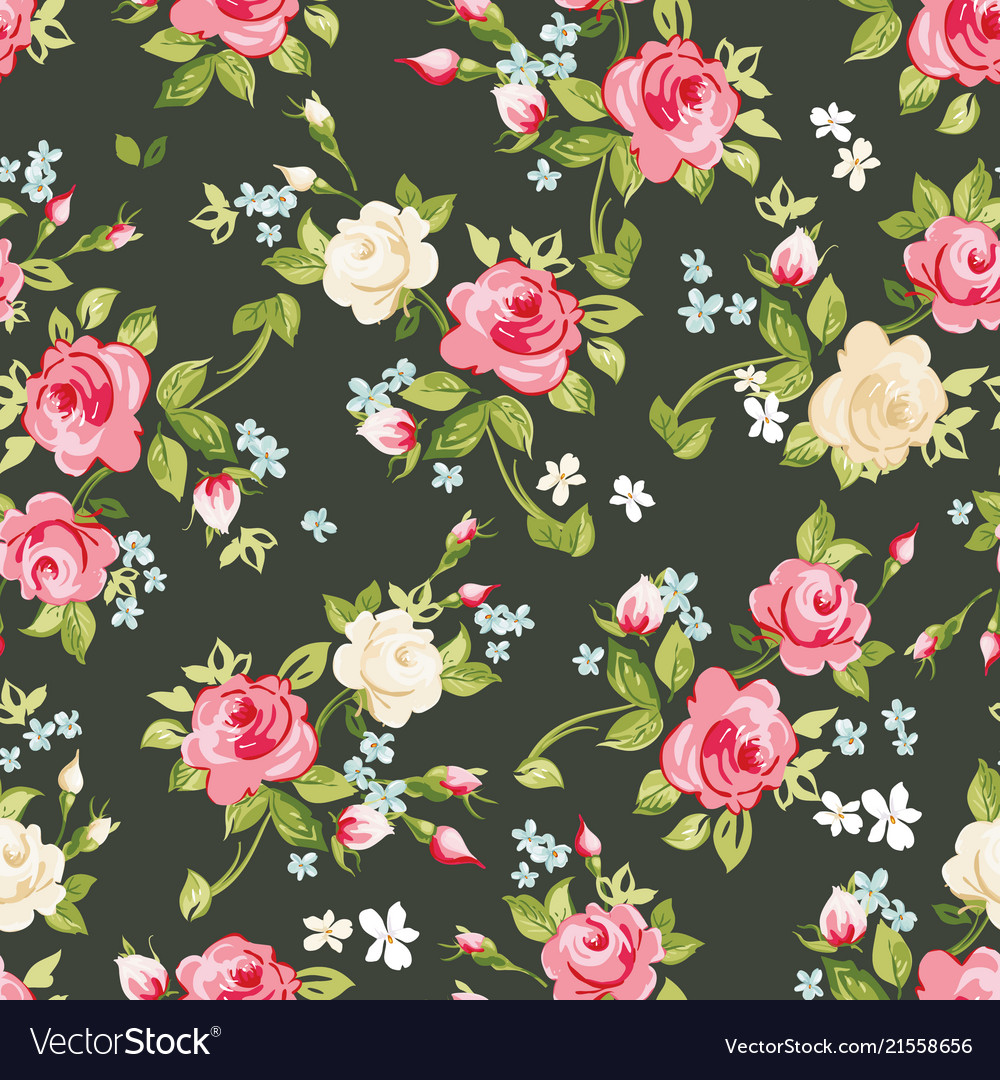 Seamless pattern with pink and white roses on