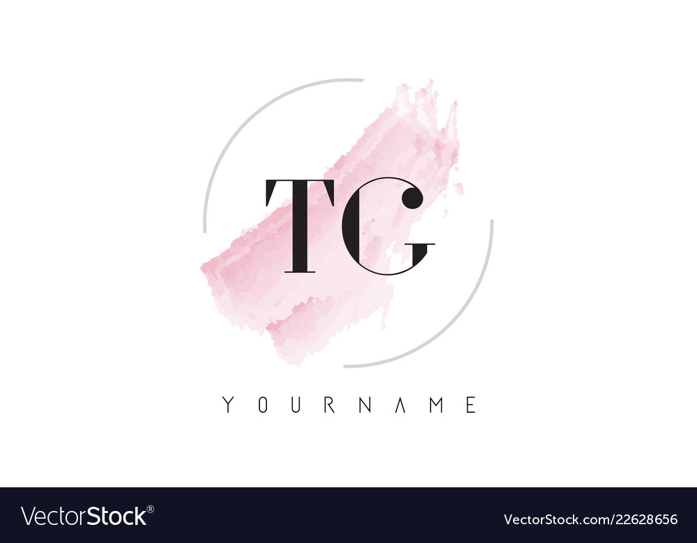 Tg T G Watercolor Letter Logo Design With