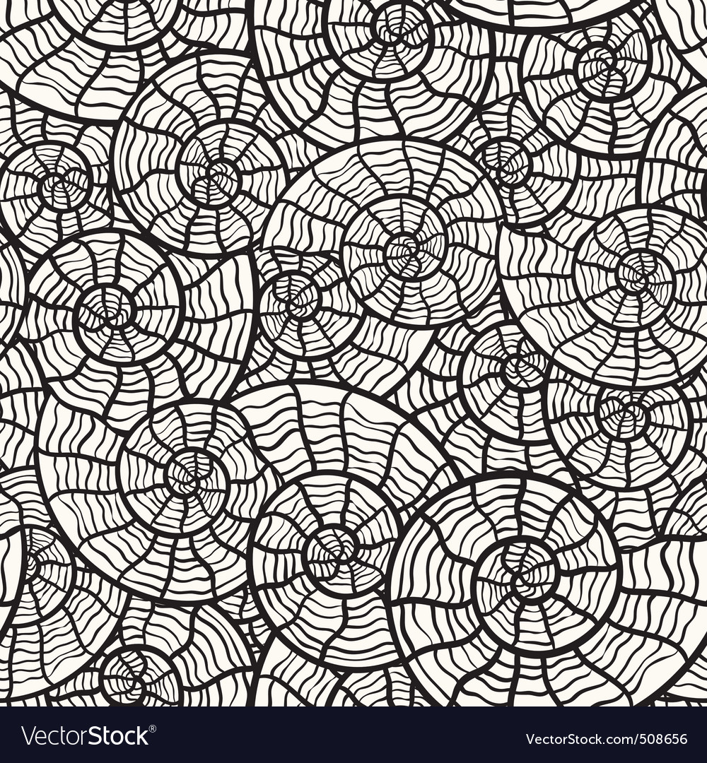 Vector seamless monochrome pattern with sea shells vector image