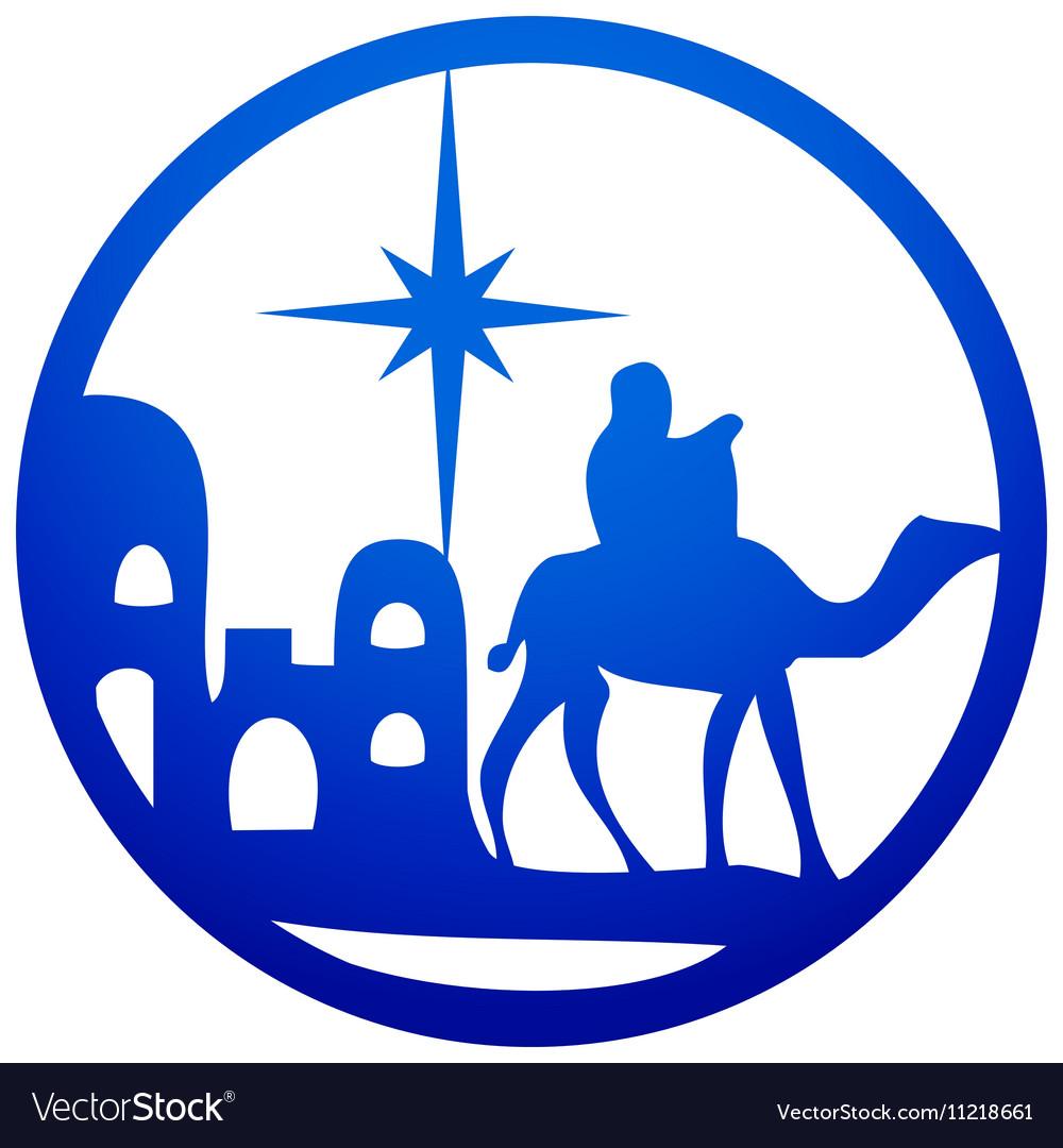 Adoration of the Magi silhouette icon blue white