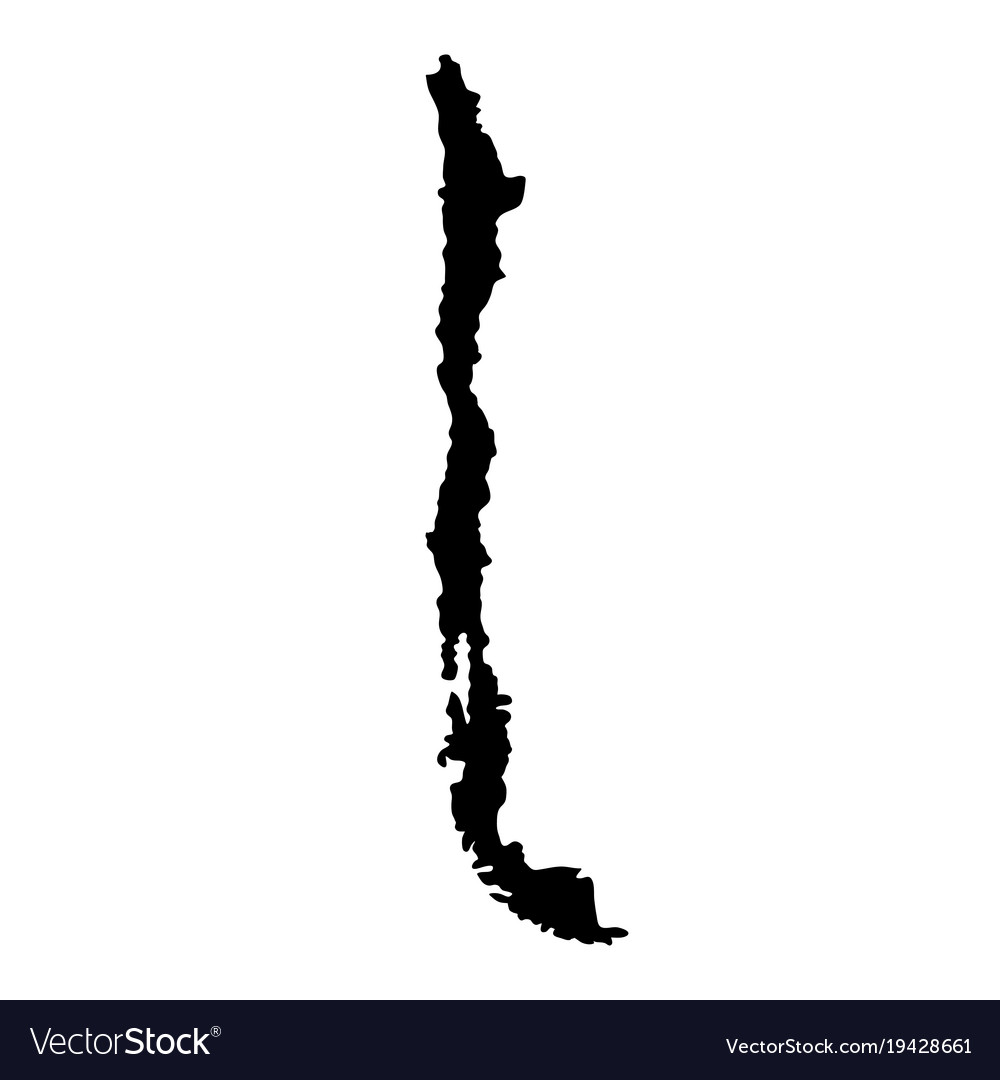 Black silhouette country borders map of chile on