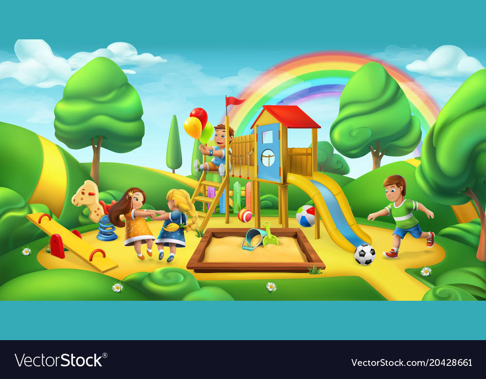 Children playground nature landscape park 3d