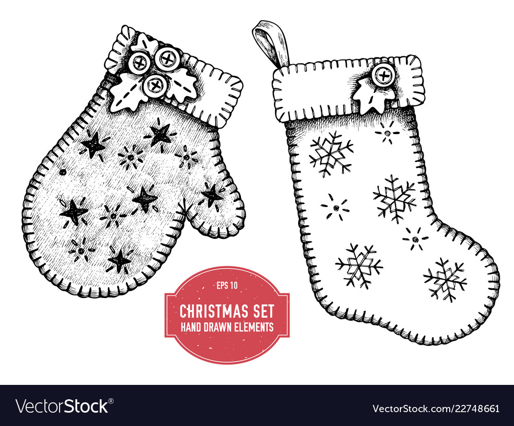 Collection of hand drawn mitten and