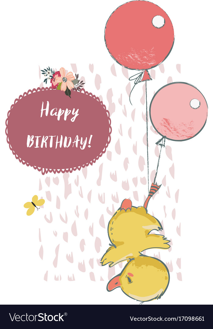 Cute duck with balloons vector image