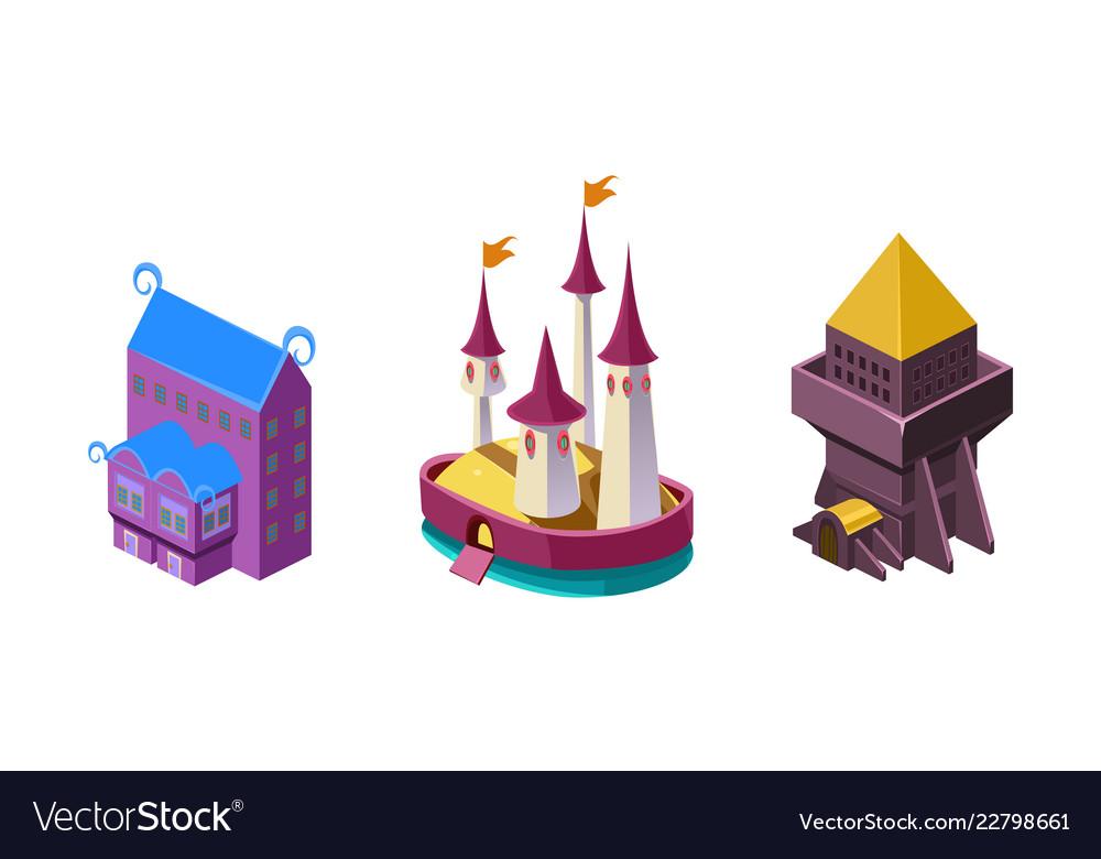 Fairy castle fortress fantasy design element for