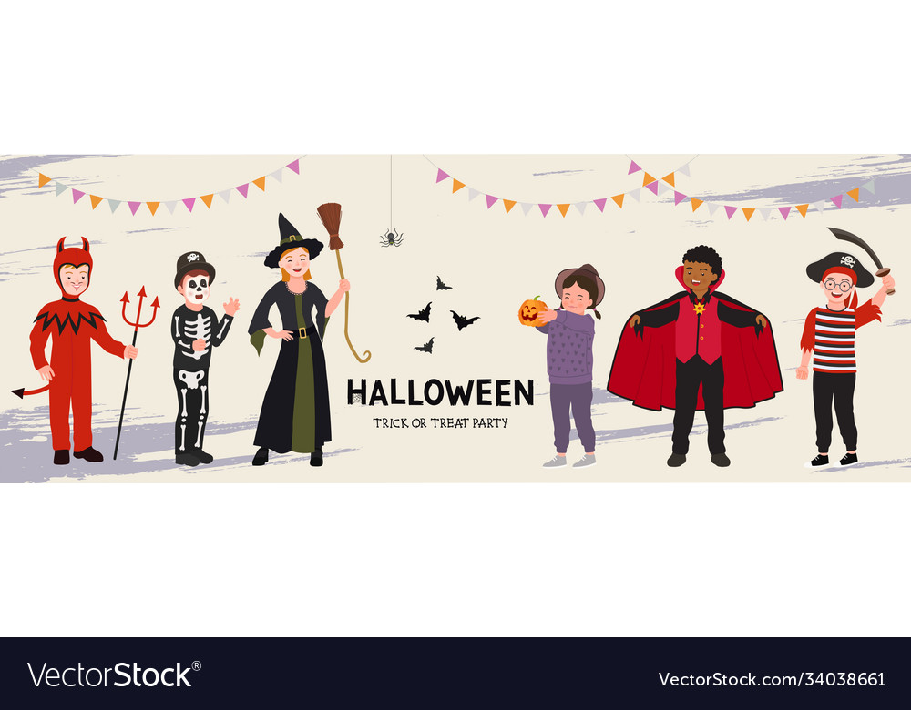 Halloween party poster group funny kids