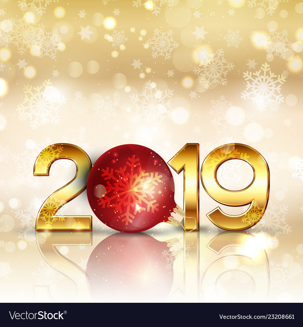 Happy new year background with gold lettering and vector