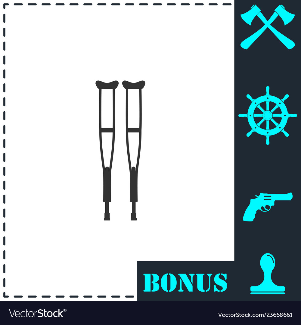 Health crutches icon flat